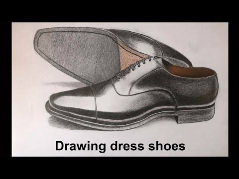 How to draw realistic dress shoes