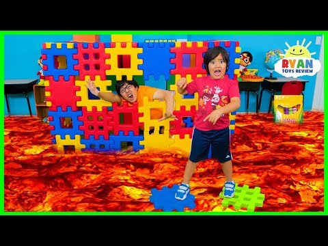 Ryan Pretend Play with Colored Toy Blocks and The Floor is Lava