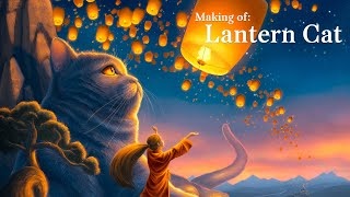 Lantern Cat - Photoshop Digital Painting (Process Timelapse)