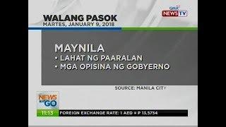 NTG: WalangPasok: January 9, 2018