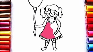 How to Draw Girl with Balloon - Coloring Pages for Toddlers
