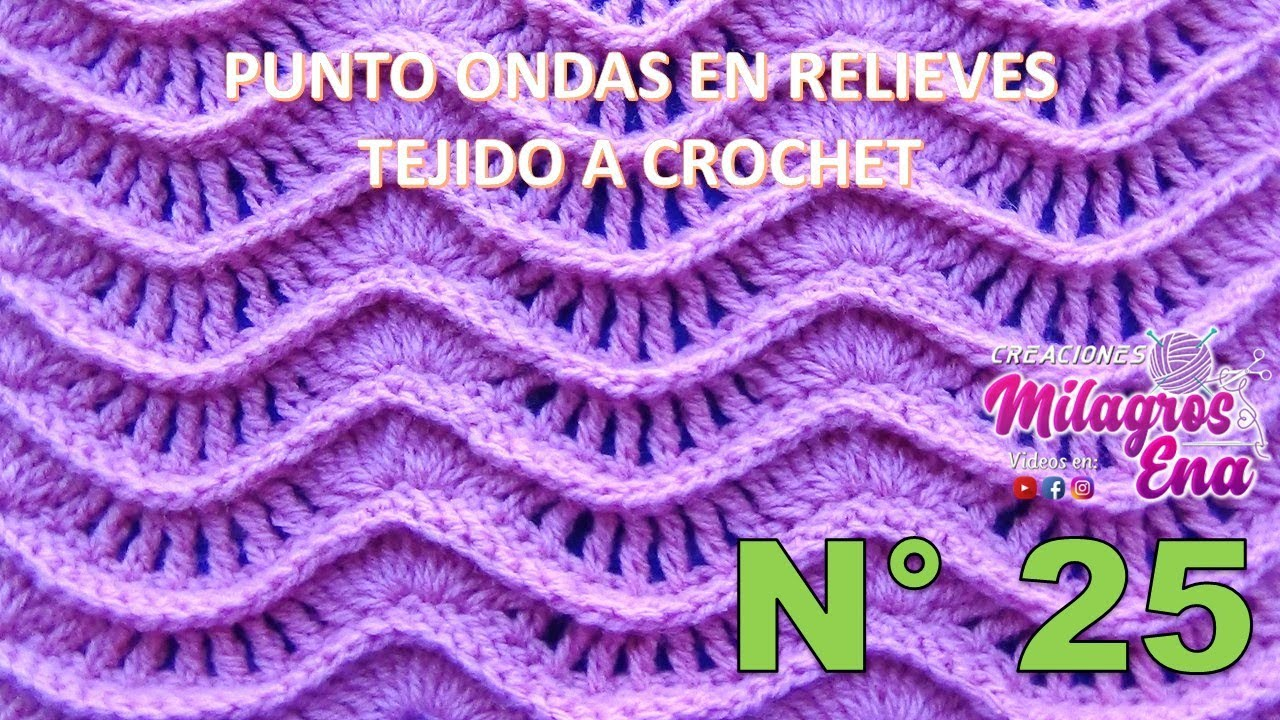 Punto a crochet ondas en relieves para suéteres y cobijas de bebe ...