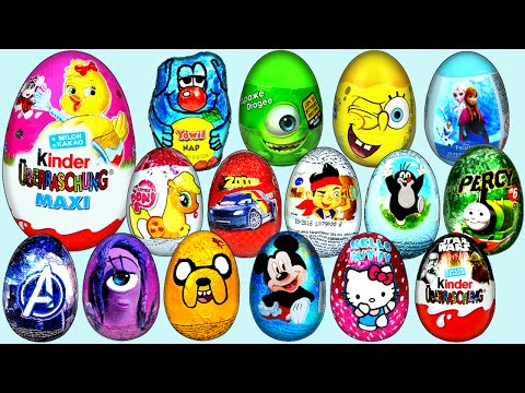60 Surprise eggs Kinder Surprise Mickey Mouse Zelda Super Mario Sponge Bob