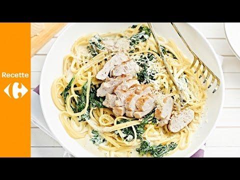 linguine-aux-épinards-crémeux-et-poulet