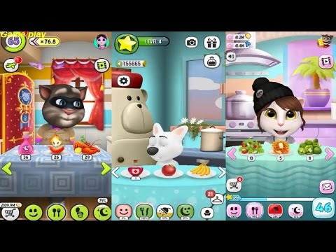 My Talking Angela VS My Talking Tom VS My Talking Dog 2  Gameplay Great Makeover for Children HD