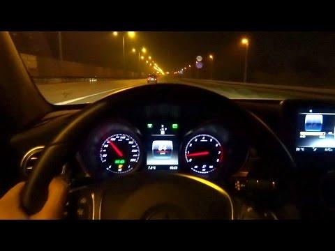 2015 Mercedes-Benz C-Class W205 C200 Fuel Consumption Test ILS Night Driving Motorway