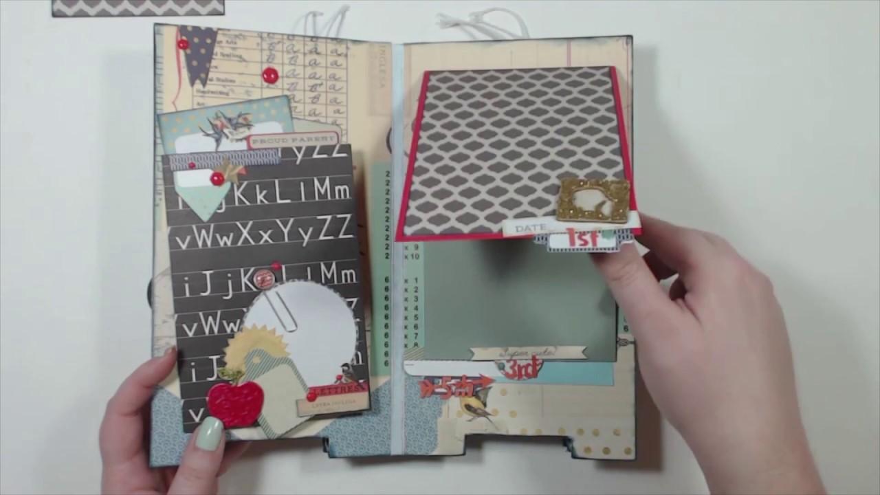 How to scrapbook memories - Scrapbook Mini Album School Memories 5 5 X10 Chipboard Album
