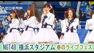 NGT48  横浜スタジアム AKB48 グループ 春のライブフェス みどりと森の運動公園 青春時計 世界はどこまで青空なのか? 春はどこから来るのか? 世界の人へ Maxとき315号