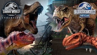 Обзор всех Динозавров Jurassic World Evolution в сравнении с Jurassic World The Game