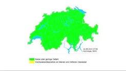 Hochwasserwarnkarten im zeitlichen Ablauf vom 1. Juli bis 22. August 2014