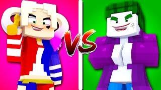 CASA ARLEQUINA vs CASA CORINGA - Minecraft Casa vs Casa