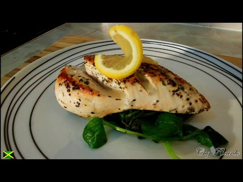 No Butter No Oil Pan Fried Chicken Served With Spinach,Healthy Recipe | Recipes By Chef Ricardo