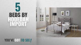 Top 10 Hodedah Import Beds [2018]: Hodedah Complete Metal Queen-Size Bed with Headboard, Footboard,