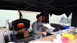 Buying a Woodfired Oven Pizza from a Spinning & Making Master Massimo: Italian Street Food in London