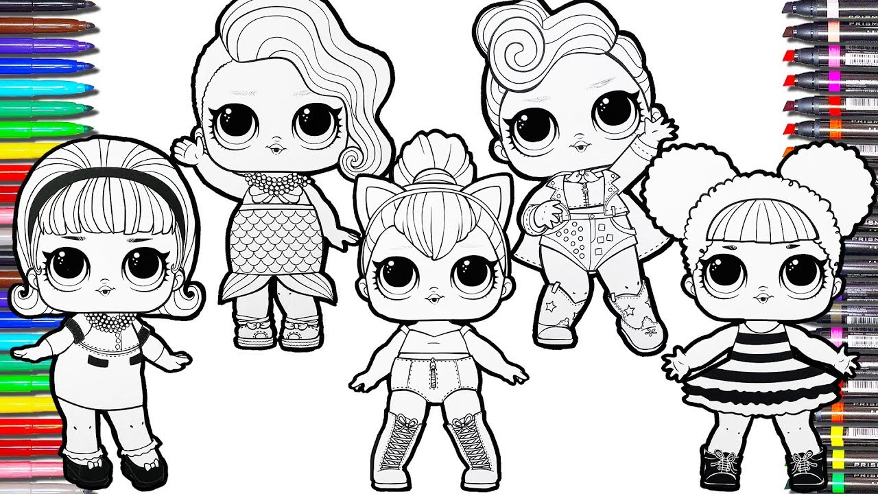 Glitter Lol Surprise Dolls Coloring Pages Lol Surprise Coloring Book For Kids Queen Bee Splash Queen Youtube