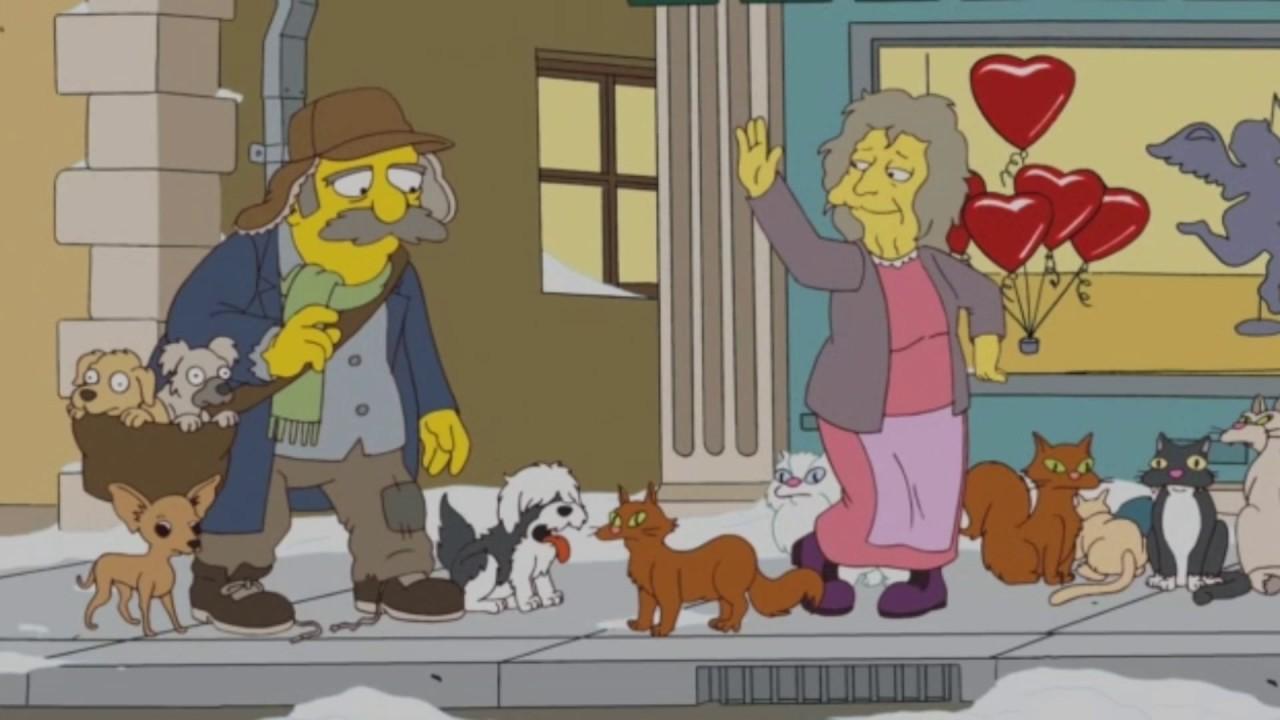 La folle aux chats x Le Fou aux chiens. Les Simpson Guy\u0027s