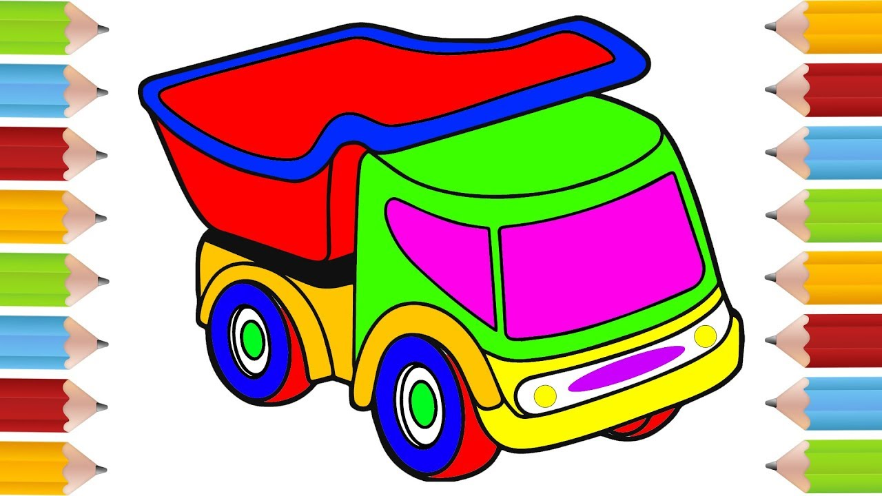 How to Draw Truck, Coloring Pages for Kids Nursery Rhymes, Art ...