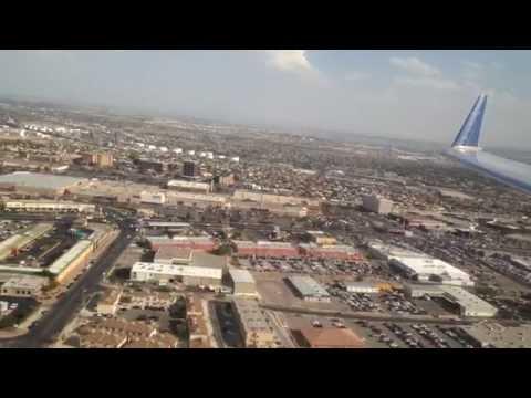 United Express Canadair CRJ-200 landing into EL Paso - Great Aerial Shot of El Paso