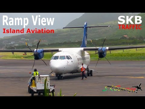 Lovely Liat ATR 42-600 Arrival - Ramp View Action @ St. Kitts Airport !!!!