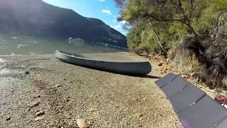 Lensun 200w portable solar panel powering a Canadian canoe