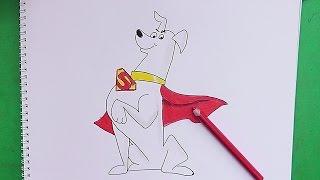 Dibujando y coloreando a Krypto (El Super Perro) - Drawing and coloring Krypto