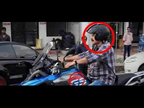 ചുള്ളനായി ബൈക്കിൽ കറങ്ങി  മമ്മുക്ക |  Mammootty stuns Ernakulam as he whizzes past on a superbike