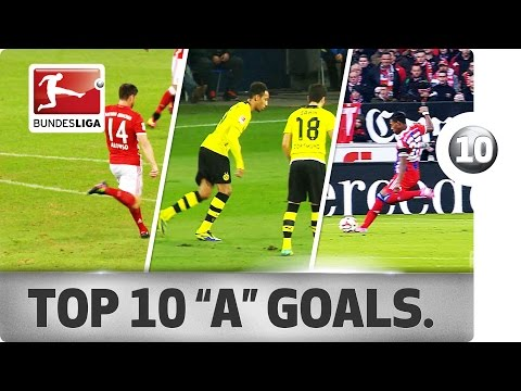 """Top 10 Goals - Players With """"A"""" - Aubameyang, Alonso & More"""