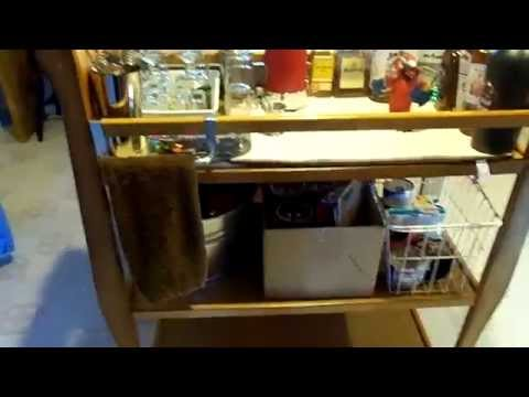 DIY home bar cart using a baby changing table.