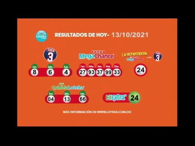 Loteka Lotería Electrónica Sorteo 07:55 PM 13-10-2021