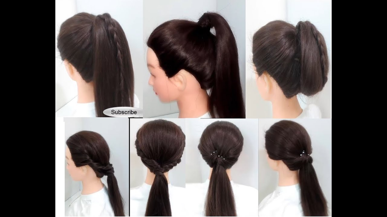 Easy Hairstyles 6 Ponytail Hairstyles For Girls Long Hair Youtube