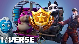 Fortnite Season 7 Battle Pass *NEW* Wraps, Skins, & Hamster - All 100 Tiers!