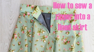 HOW TO SEW A ZIPPER INTO A LINED SKIRT