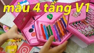 Mua màu: 0868309666. Bé giới thiệu hộp bút tô màu 4 tầng Hello Kitty giá rẻ.