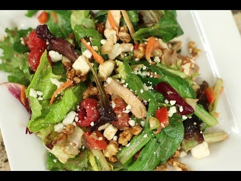 Cranberry Vinaigrette Over This Amazing Salad With Raspberries, Walnuts, Feta, And More.