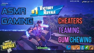 ASMR Gaming | Fortnite Cheaters Teaming and Relaxing Gum Chewing 🎮🎧Controller Sounds + Whispering😴💤