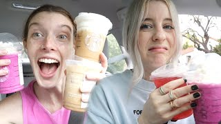 TRYING OUR FANS FAVORITE STARBUCKS DRINKS!!