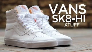 vans sk8 hi all white on feet