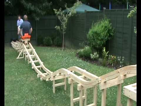 homemade roller coaster part 4 us riding on it   youtube