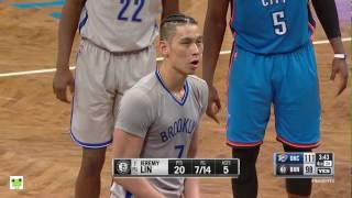Jeremy Lin's Offense & Defense Highlights 2017-03-15 Nets vs Thunder