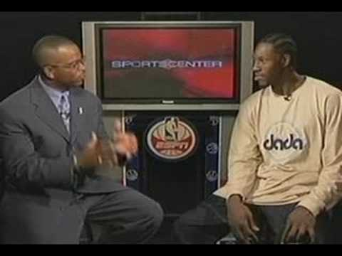 Stuart Scott interviews Ben Wallace during the 04 NBA Finals