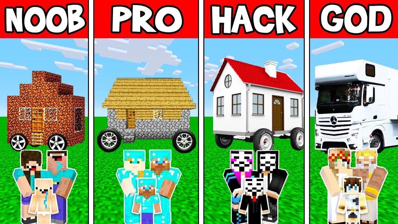 Minecraft: NOOB vs PRO vs HACKER vs GOD : HOUSE ON WHEELS in Minecraft! Animation