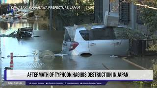 Aftermath of Typhoon Hagibis destruction in Japan