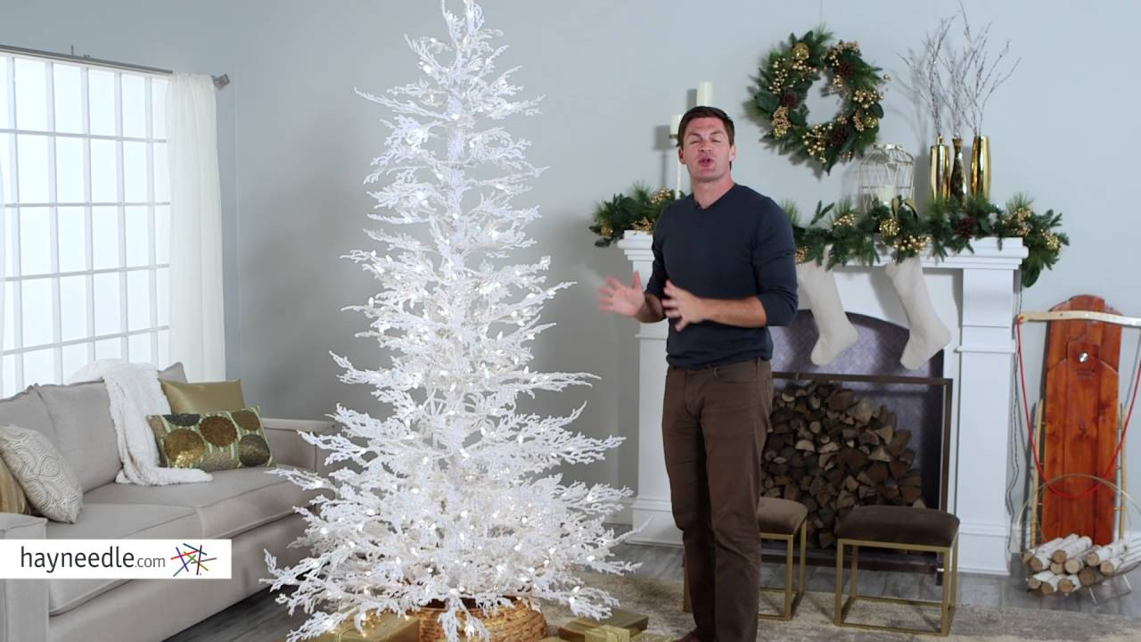 flocked white twig tree pre lit full christmas tree product review video - White Flocked Christmas Trees