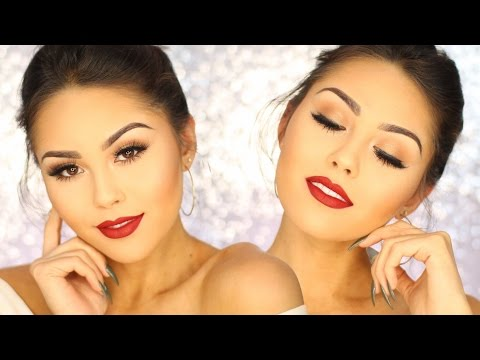 CLASSIC HOLIDAY GLAM | Easy Gold Smoky Eye and Perfect Red Lips