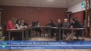 Concejo Municipal Martes 25 de Septiembre 2018 El Quisco