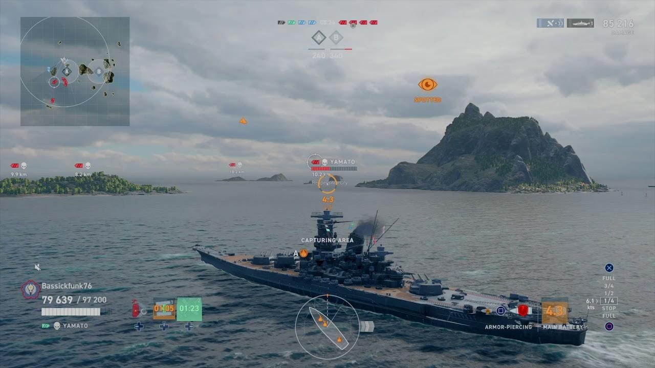 Yamato 4v4 all 4 kills World of Warships: Legends - YouTube