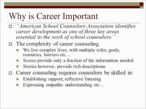essay on importance of career counselling Career counseling, also known as career guidance, is counseling designed to help with choosing, changing, or leaving a career and is available at any stage in lifeone's career is often one of the most important aspects of adulthood, and embarking on a new career, whether for the first time, the second time, or any time thereafter, can be a.