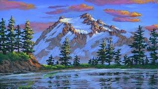 Как рисовать горы и снег на закате, используя акрил на холсте
