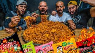 تحدي ٥٠ نودلز كوري حار والعقاب ؟؟؟ 🌶 Spicy Korean Noodle Challenge 50 Packs
