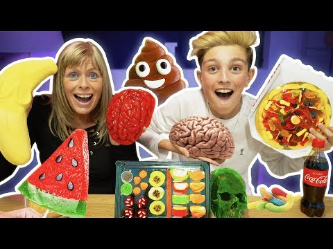 Real Food VS Gummy Food! GROSS Giant Candy Challenge - EXTREME Edition Gone Wrong!!